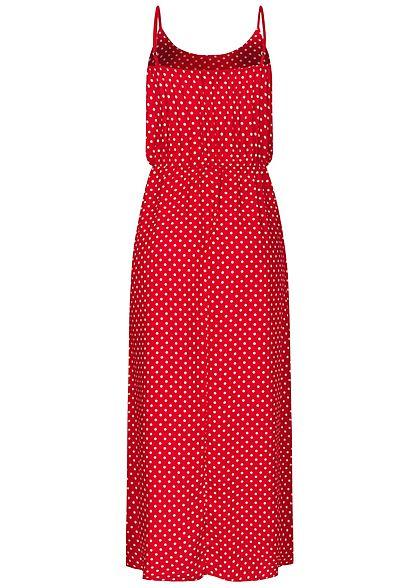 Fresh Lemons Damen Viskose Maxi Kleid Taillengummibund Punkte Muster rot weiss