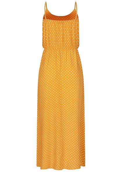 Fresh Lemons Damen Viskose Maxi Kleid Taillengummibund Punkte Muster gelb weiss