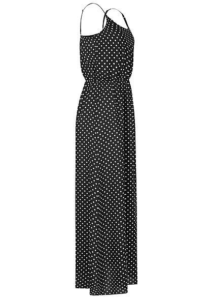 Fresh Lemons Damen Viskose Maxi Kleid Taillengummibund Punkte Muster schwarz weiss