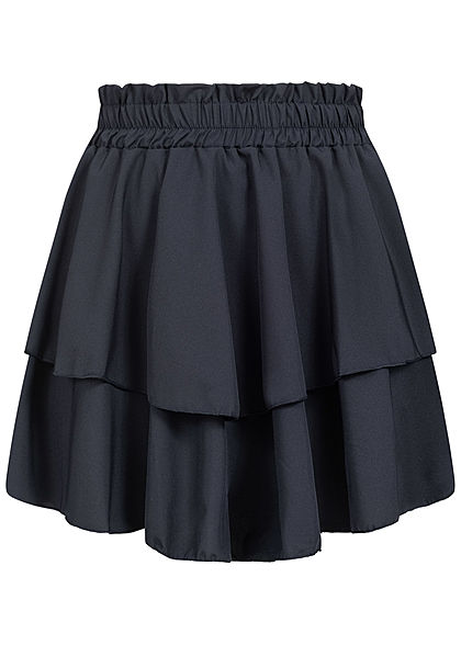 Fresh Lemons Damen Mini Stufenrock unicolor navy blau - Art.-Nr.: 20065171