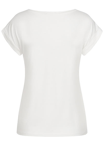 Fresh Lemons Damen Basic Viskose Shirt Ärmelumschlag weiss