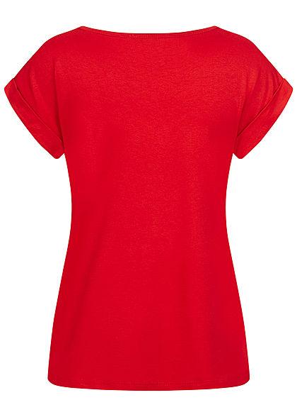 Fresh Lemons Damen Basic Viskose Shirt Ärmelumschlag rot