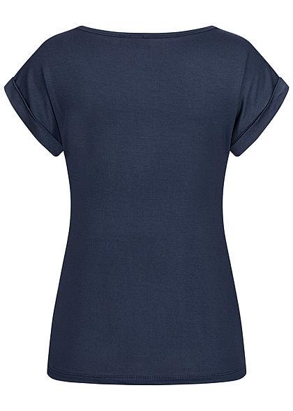 Fresh Lemons Damen Basic Viskose Shirt Ärmelumschlag navy blau
