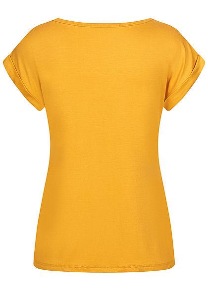 Fresh Lemons Damen Basic Viskose Shirt Ärmelumschlag mango gelb orange