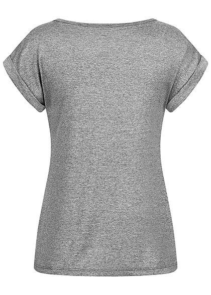 Fresh Lemons Damen Basic Viskose Shirt Ärmelumschlag dunkel grau melange