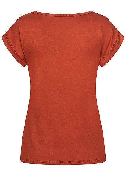 Fresh Lemons Damen Basic Viskose Shirt Ärmelumschlag copper braun