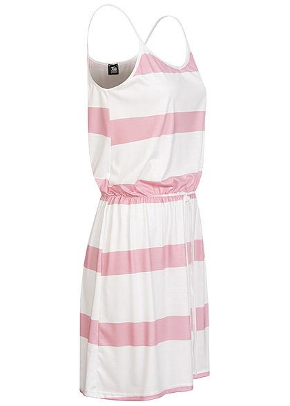 Fresh Lemons Damen V-Neck Mini Kleid Taillengummibund Streifen Muster rosa weiss