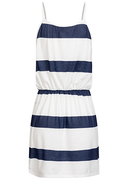 Fresh Lemons Damen V-Neck Mini Kleid Taillengummibund Streifen Muster navy blau