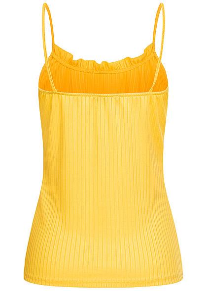 Fresh Lemons Damen Top mit Rüschen oben Struktur Streifen gelb