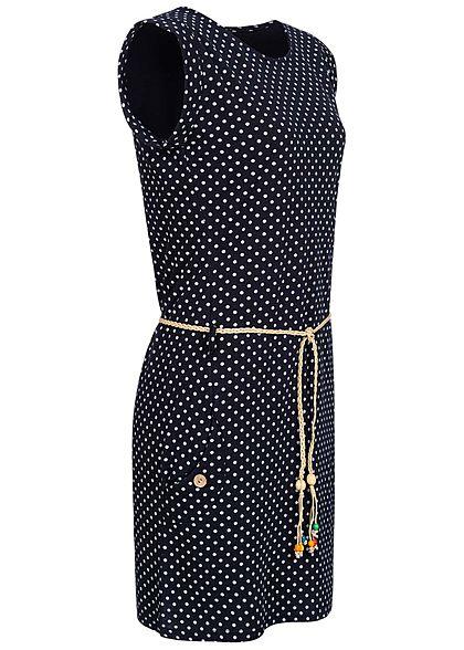 Fresh Lemons Damen Mini Kleid 2-Pockets inkl. Flechtgürtel Punkte Muster navy blau weiss