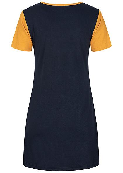 Fresh Lemons Damen Colorblock Mini T-Shirt Kleid gelb weiss blau