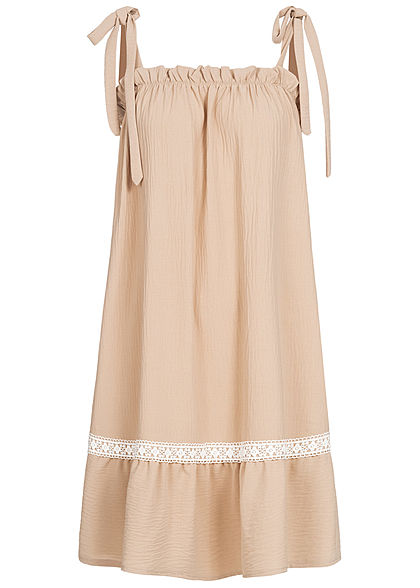 Fresh Lemons Damen Träger Kleid inkl. Bindegürtel Spitze beige weiss