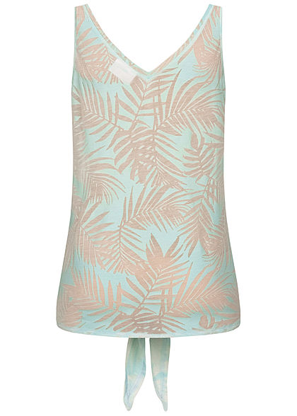 Seventyseven Lifestyle Damen Tank Top Tropical Burnout Print Bindedetail mint grün