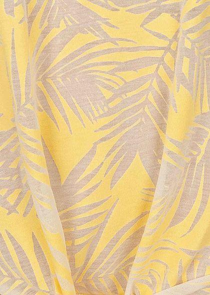 Seventyseven Lifestyle Damen Tank Top Tropical Burnout Print Bindedetail gelb