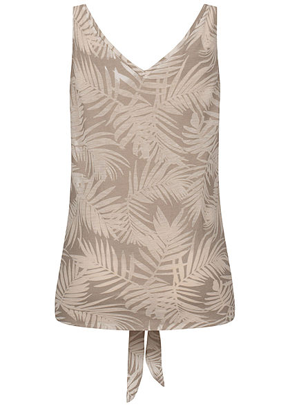 Seventyseven Lifestyle Damen Tank Top Tropical Burnout Print Bindedetail silber grau