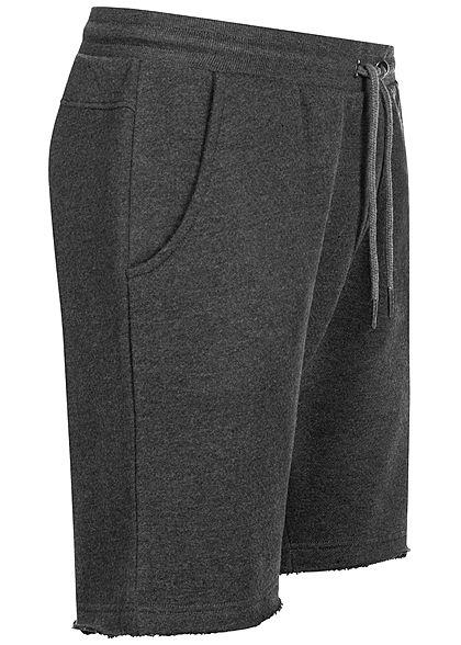 Seventyseven Lifestyle Herren Sweat Shorts 2-Pockets offene Kanten dunkel grau