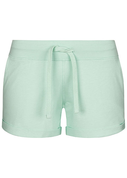 Seventyseven Lifestyle Damen Sweat Shorts Tunnelzug 2-Pockets mint grün - Art.-Nr.: 20068061