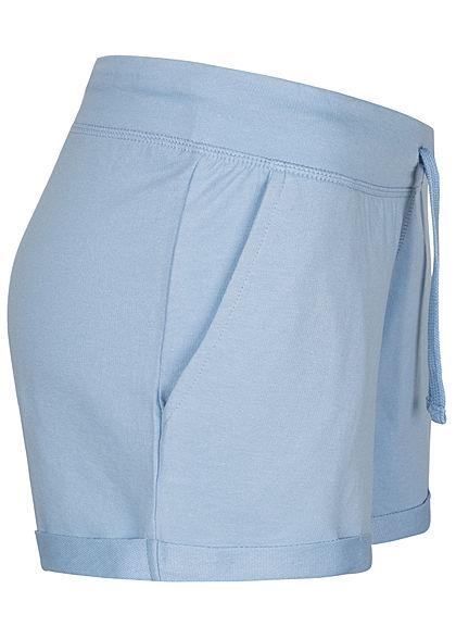 Seventyseven Lifestyle Damen Sweat Shorts Tunnelzug 2-Pockets hell blau