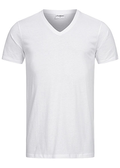 Seventyseven Lifestyle Herren Basic V-Neck T-Shirt weiss - Art.-Nr.: 20068065