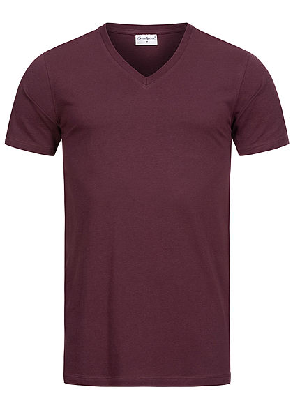Seventyseven Lifestyle Herren Basic V-Neck T-Shirt bordeaux rot - Art.-Nr.: 20068067