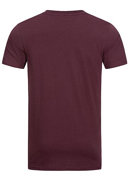Seventyseven Lifestyle Herren Basic V-Neck T-Shirt bordeaux rot