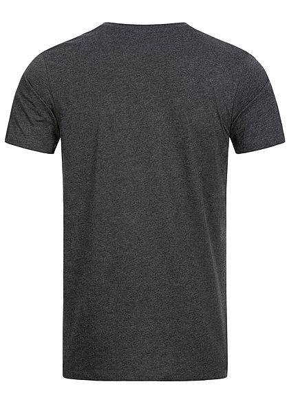 Seventyseven Lifestyle Herren Basic V-Neck T-Shirt anthrazit dunkel grau melange