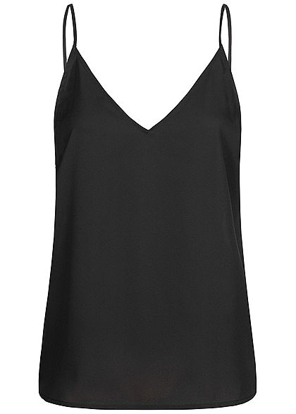 Seventyseven Lifestyle Damen V-Neck Spitzen Top mit Deko Knöpfen hinten schwarz