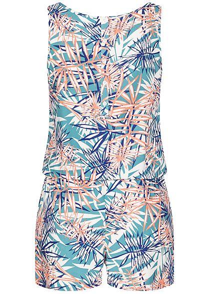 Seventyseven Lifestyle Damen kurzer Jumpsuit Gummibund Tropical Print aqua blau weiss