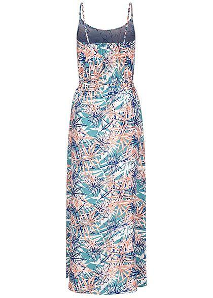 Seventyseven Lifestyle Damen Viskose Maxikleid Bindegürtel Tropical Print aqua blau rose
