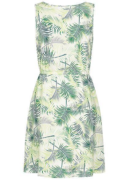 Seventyseven Lifestyle Damen Viskose Mini Sommer Kleid Tropical Print snow weiss grün
