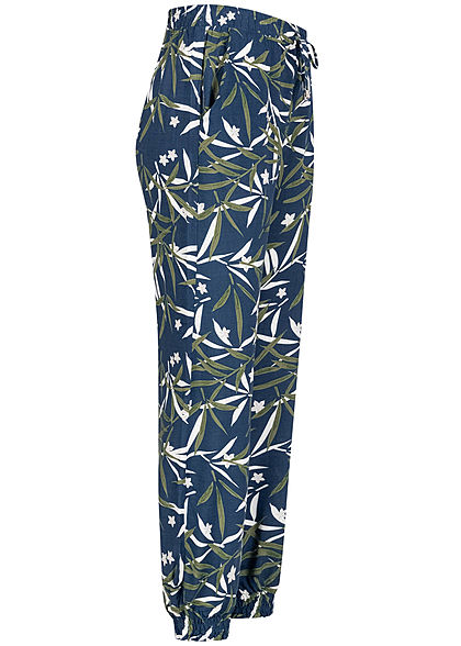 Seventyseven Lifestyle Damen Viskose Sommer Hose 2-Pockets Tropical Print insignia blau