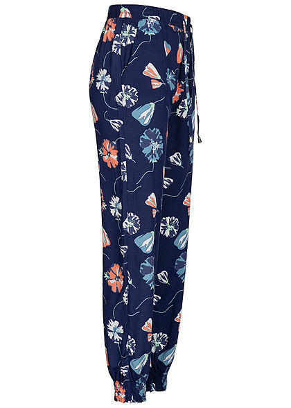 Seventyseven Lifestyle Damen Viskose Sommer Hose 2-Pockets Blumen Print patriot navy blau