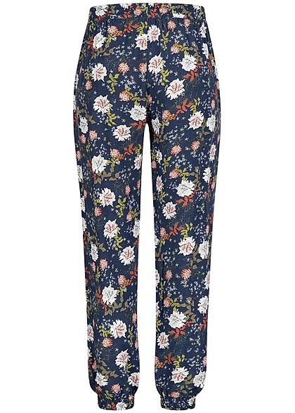 Seventyseven Lifestyle Damen Viskose Sommer Hose 2-Pockets Blumen Print marine blau