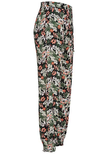 Seventyseven Lifestyle Damen Viskose Sommer Hose 2-Pockets Tropical Print schwarz orange
