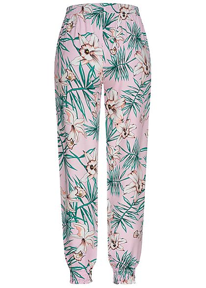 Seventyseven Lifestyle Damen Viskose Sommer Hose 2-Pockets Tropical Print lilac rosa grün