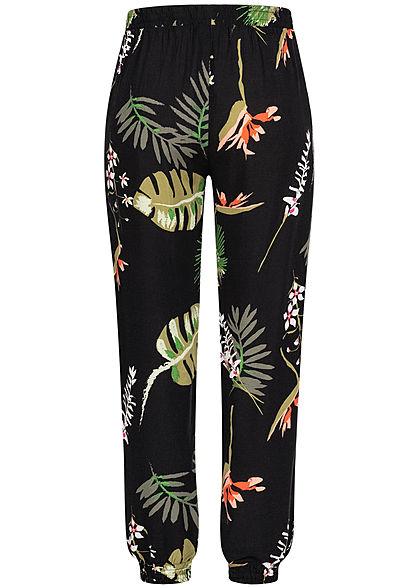 Seventyseven Lifestyle Damen Viskose Sommer Hose 2-Pockets Tropical Print schwarz grün