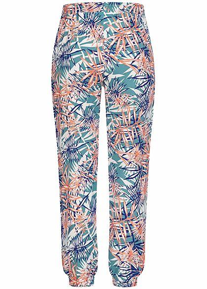 Seventyseven Lifestyle Damen Viskose Sommer Hose 2-Pockets Tropical Print aqua hellblau