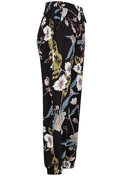 Seventyseven Lifestyle Damen Viskose Sommer Hose 2-Pockets Floraler Print schwarz rosa