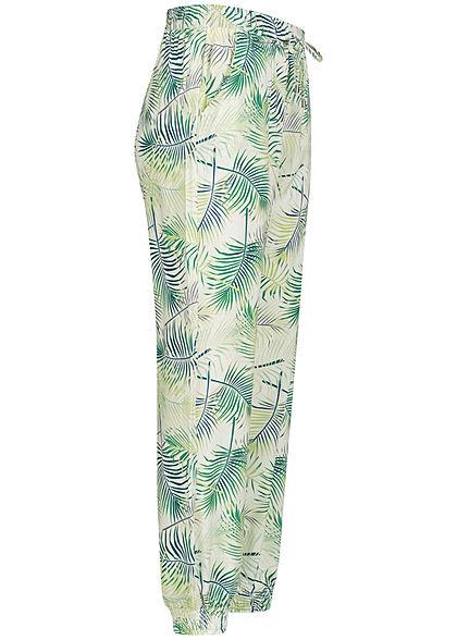 Seventyseven Lifestyle Damen Viskose Sommer Hose 2-Pockets Tropical Print snow weiss grün