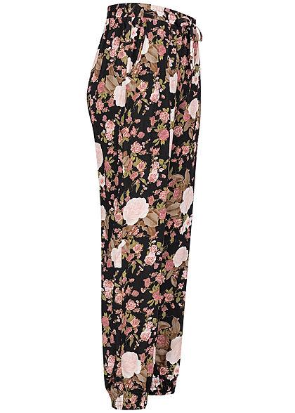 Seventyseven Lifestyle Damen Viskose Sommer Hose 2-Pockets Rosen Print schwarz rosa beige