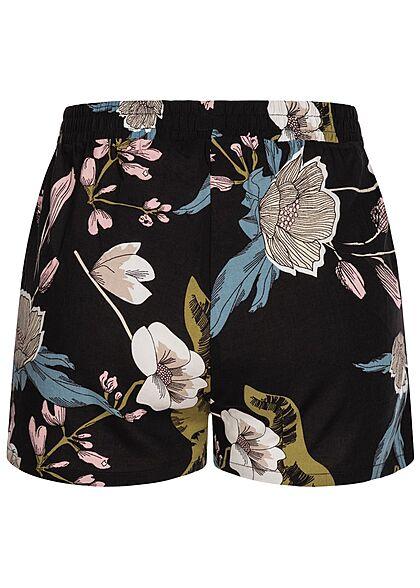 Seventyseven Lifestyle Damen Viskose Sommer Shorts Floraler Print schwarz rosa