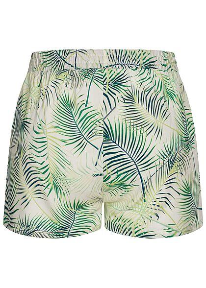 Seventyseven Lifestyle Damen Viskose Sommer Shorts Tropical Print snow weiss grün