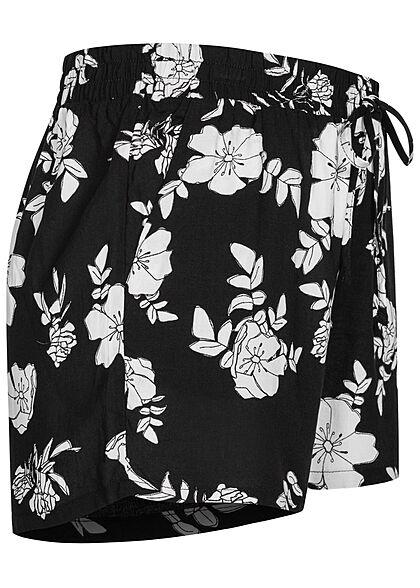 Seventyseven Lifestyle Damen Viskose Sommer Shorts Blumen Muster schwarz weiss