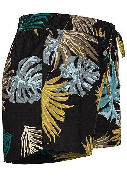 Seventyseven Lifestyle Damen Viskose Sommer Shorts Tropical Print caviar multic.