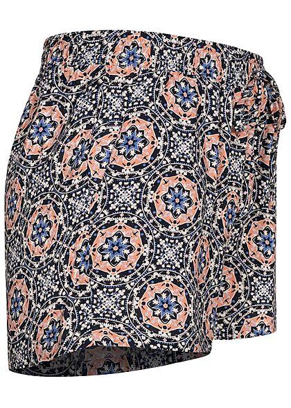 Seventyseven Lifestyle Damen Viskose Sommer Shorts Mandala Print navy blau weiss