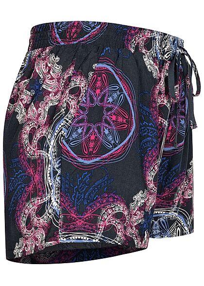 Seventyseven Lifestyle Damen Viskose Sommer Shorts All Over Print dunkel blau pink