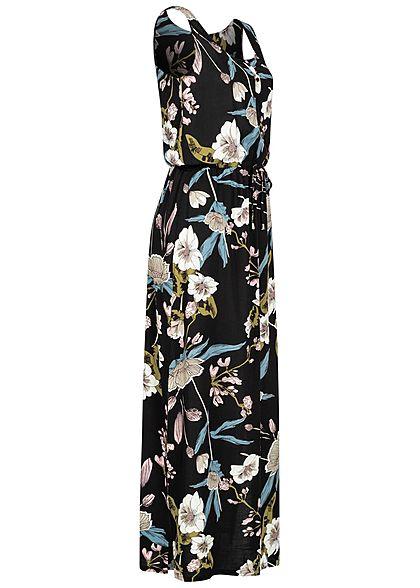 Seventyseven Lifestyle Damen Viskose Maxikleid Taillenzug Floraler Print schwarz coral