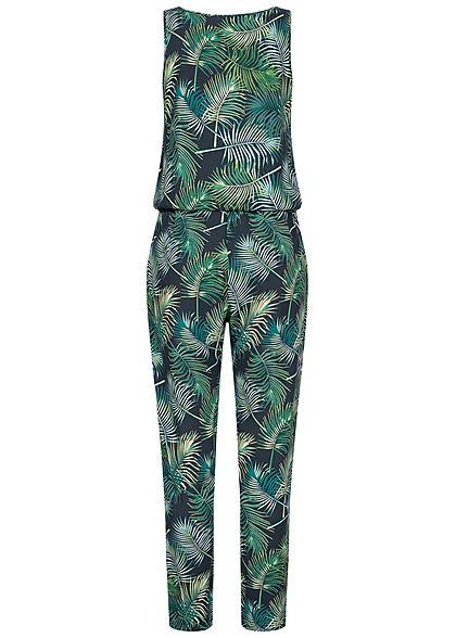 Seventyseven Lifestyle Damen Jumpsuit Knopfleiste Tunnelzug Tropical Print navy blau grün