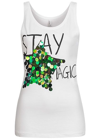 Sublevel Damen Tank Top Stay Magic Print Pailletten weiss