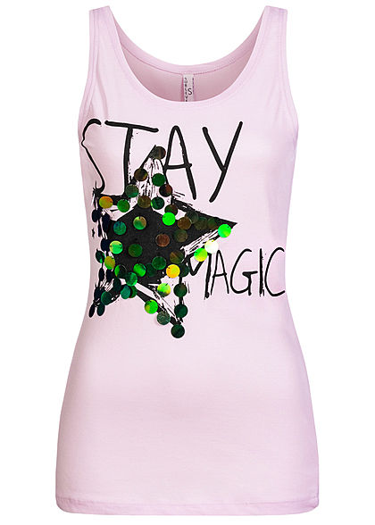 Sublevel Damen Tank Top Stay Magic Print Pailletten tender lila pink